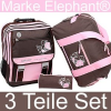 ELEPHANT WORLD TOURS: Girls Flower »Chocolate Pink« Schulrucksack-Set