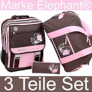 Girls Flower Chocolate Pink ELEPHANT WORLD TOURS: Girls Flower »Chocolate Pink« Schulrucksack Set